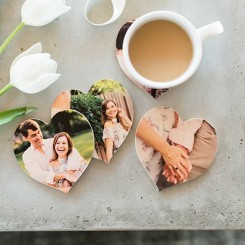 Set of 4 Wooden Heart Coasters